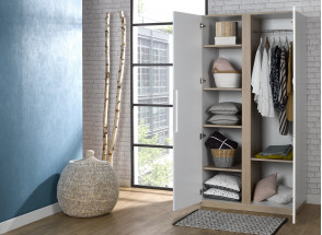 Armoire 2 portes PRADO – Blanc/Chêne Nateo Concept - 2