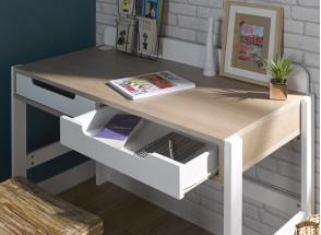 Bureau 2 tiroirs PRADO – Blanc/Chêne Nateo Concept - 2