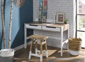 Bureau 2 tiroirs PRADO – Blanc/Chêne Nateo Concept - 1
