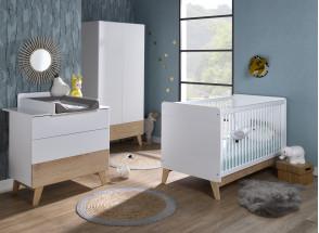 Chambre bébé complète HAXO - Blanc/Pin  - 1