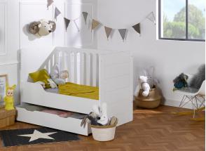 Lit bébé évolutif Blanc CITY – Blanc Nateo Concept - 5