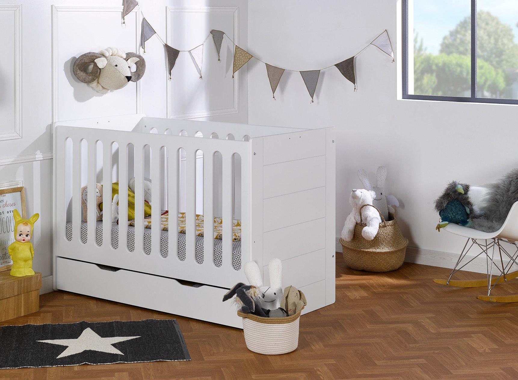 Lit bébé évolutif Blanc CITY – Blanc Nateo Concept - 1