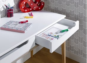 Bureau 2 tiroirs VOLT – Blanc/Bois Nateo Concept - 2
