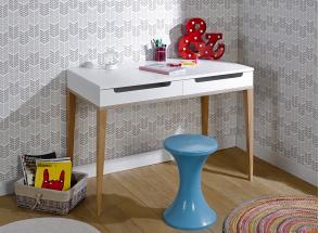 Bureau 2 tiroirs VOLT – Blanc/Bois Nateo Concept - 1