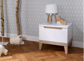 Chevet avec tiroir VOLT – Blanc/Hêtre Nateo Concept - 1