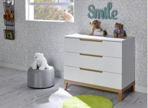 Commode 3 tiroirs VOLT  – Blanc/Hêtre Nateo Concept - 1