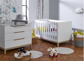 Lit bébé évolutif VOLT – Blanc/Hêtre Nateo Concept - 5