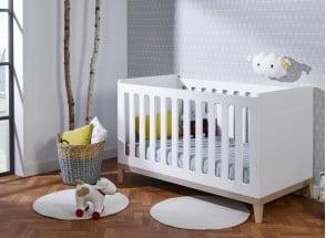 Lit bébé évolutif VOLT – Blanc/Hêtre Nateo Concept - 1