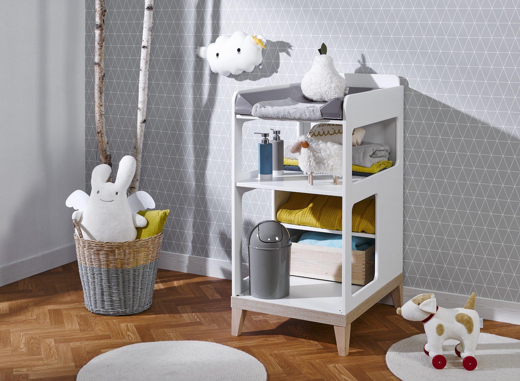 Table à langer bébé VOLT – Blanc/Hêtre Nateo Concept - 1