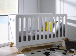 Lit bébé évolutif OXYGENE – Blanc/Bouleau Nateo Concept - 1