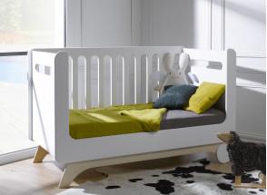 Lit bébé évolutif OXYGENE – Blanc/Bouleau Nateo Concept - 2