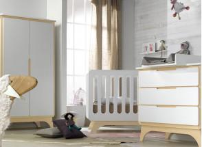 Lit bébé évolutif OXYGENE – Blanc/Bouleau Nateo Concept - 5