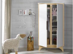 Armoire 2 portes OXYGENE – Blanc/Bouleau Nateo Concept - 2