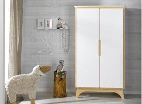 Armoire 2 portes OXYGENE – Blanc/Bouleau Nateo Concept - 1