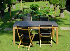 Table et chaises de jardin en Teck CANCUN - 4 personnes Nateo Concept - 1