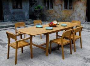 Table et chaises de jardin en Teck CUBA - 6/10 personnes Nateo Concept - 1