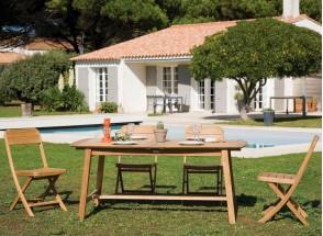 Table et chaises de jardin en Teck CUBA – 4 personnes Nateo Concept - 1