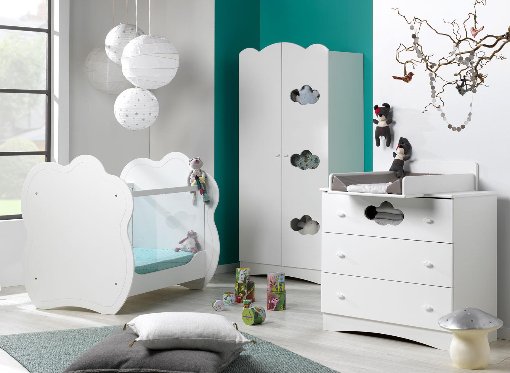 Chambre bébé complète CLOUD- Blanc  - 1