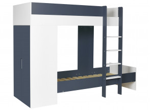 Lit superposé avec armoire MANLY Blanc/Bleu + 2 matelas  - 2