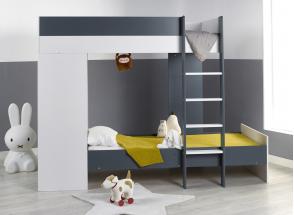 Lit superposé avec armoire MANLY Blanc/Bleu + 2 matelas  - 1