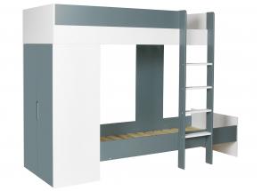Lit superposé avec armoire MANLY Blanc/Vert + 2 matelas  - 3