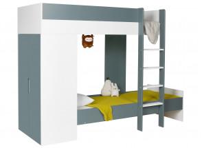 Lit superposé avec armoire MANLY Blanc/Vert + 2 matelas  - 2