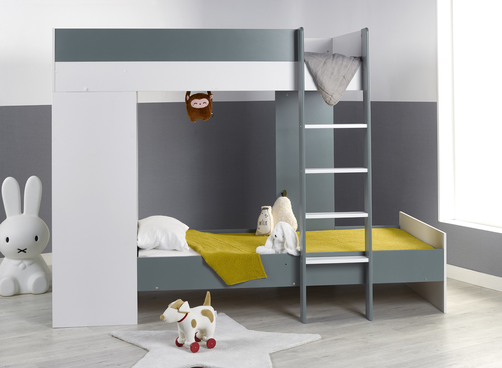 Lit superposé avec armoire MANLY Blanc/Vert + 2 matelas  - 1