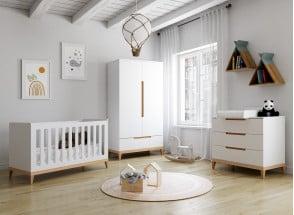 Chambre bébé complète VOLT - Blanc/Hêtre  - 1