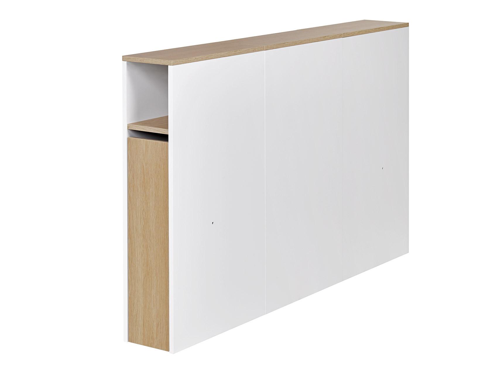 Tête de lit 2 places 140 PRADO Blanc/Chêne  - 1