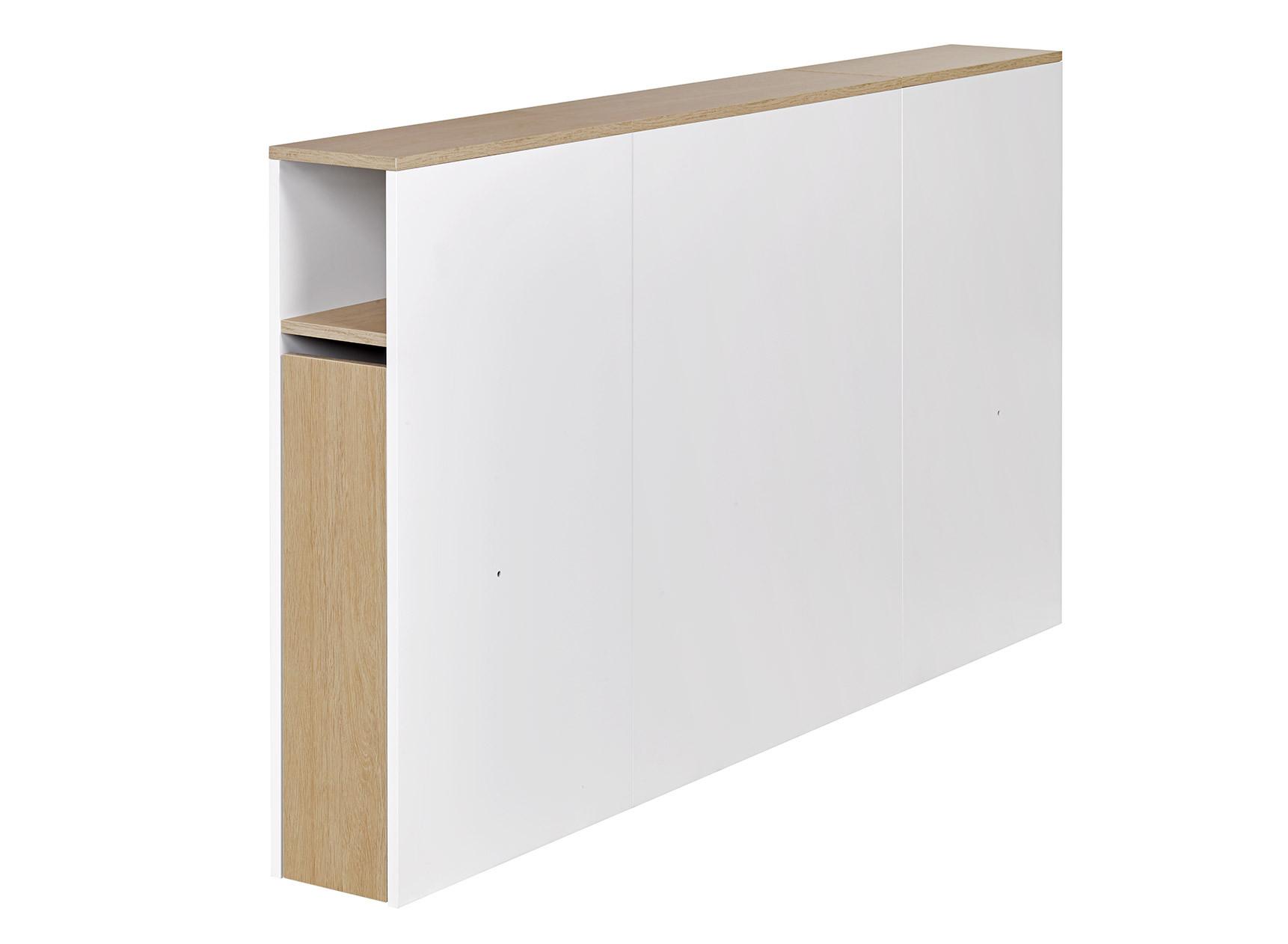 Tête de lit 2 places 160 PRADO Blanc/Chêne  - 1