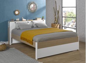 Tête de lit 2 places 160 PRADO Blanc/Chêne  - 3