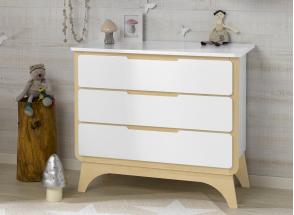 Commode 3 tiroirs OXYGENE – Blanc/Bouleau Nateo Concept - 1