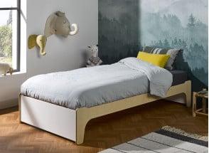 Lit enfant 90x190 KALIX - Blanc/Bois Nateo Concept - 1
