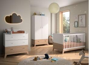 Chambre bébé complète EKKO - Blanc/Chêne  - 1