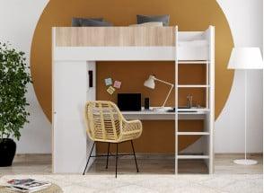Lit mezzanine avec bureau BONDI - Blanc/Bois  - 1