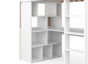 Lit mezzanine avec bureau BONDI - Blanc/Bois  - zoom sur rangements