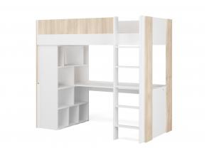 Lit mezzanine avec bureau BONDI - Blanc/Bois  - 3
