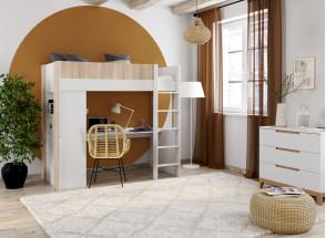 Lit mezzanine avec bureau BONDI - Blanc/Bois  - 2