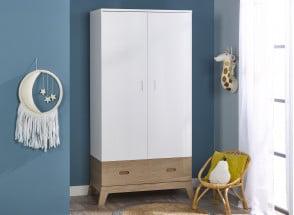 Armoire 2 portes 1 tiroir EKKO – Blanc/Chêne Nateo Concept - 1