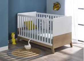 Lit bébé évolutif EKKO – Blanc/Chêne Nateo Concept - 1