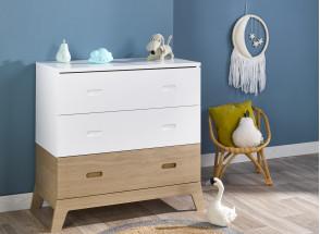 Chambre bébé complète EKKO - Blanc/Chêne  - 4