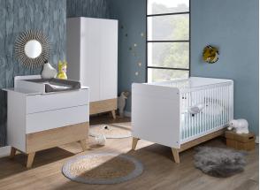 Lit bébé évolutif HAXO – Blanc/Pin Nateo Concept - 3