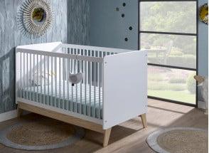 Lit bébé évolutif HAXO – Blanc/Pin Nateo Concept - 1
