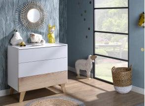 Commode 3 tiroirs HAXO – Blanc/Pin Nateo Concept - 1