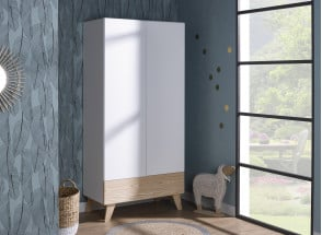 Armoire 2 portes 1 tiroir HAXO – Blanc/Pin Nateo Concept - 1