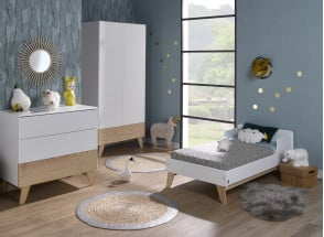 Chambre bébé complète HAXO - Blanc/Pin  - 2
