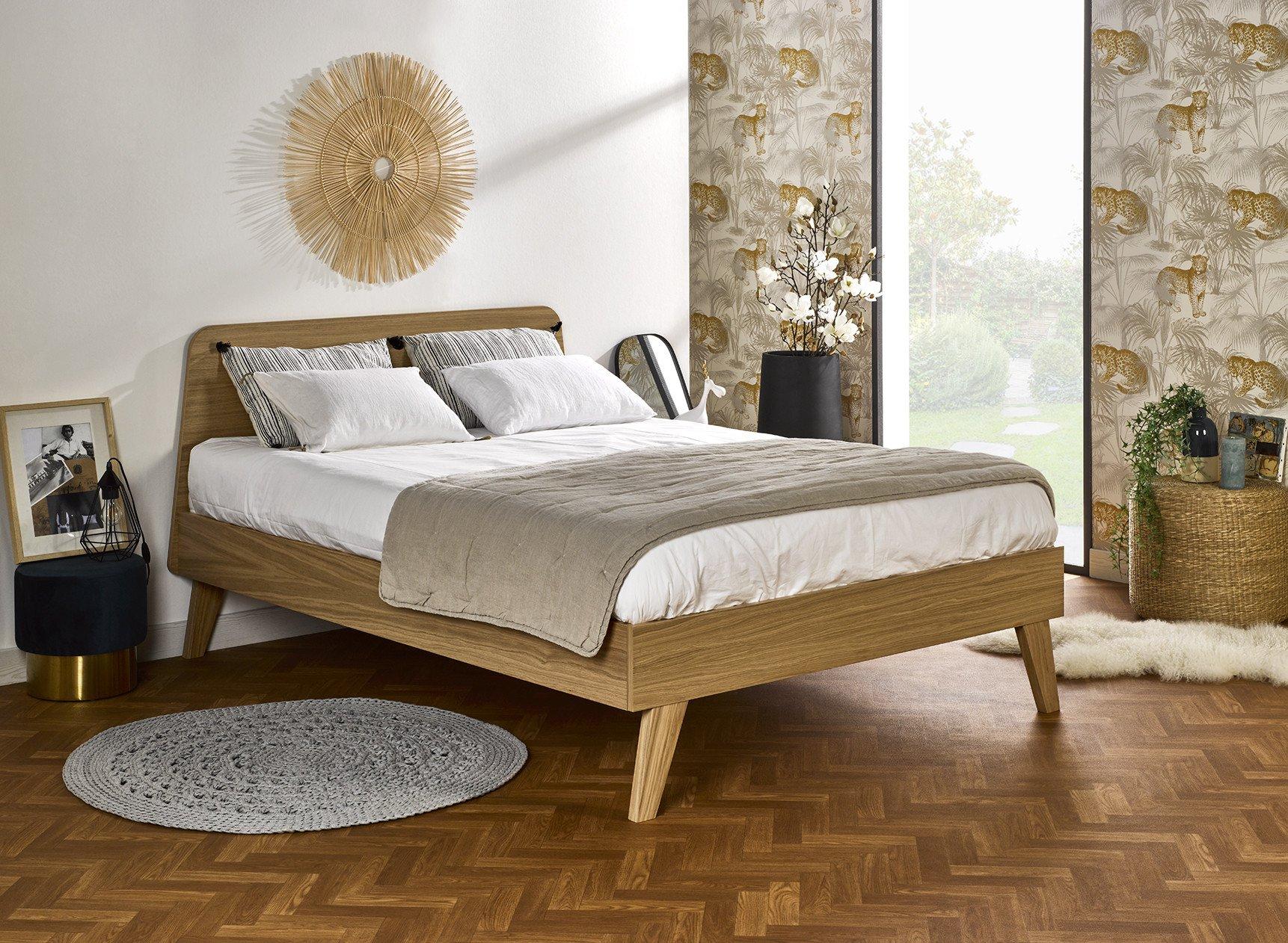 Lit double 140x200 en Chêne LOKI Nateo Concept - 1