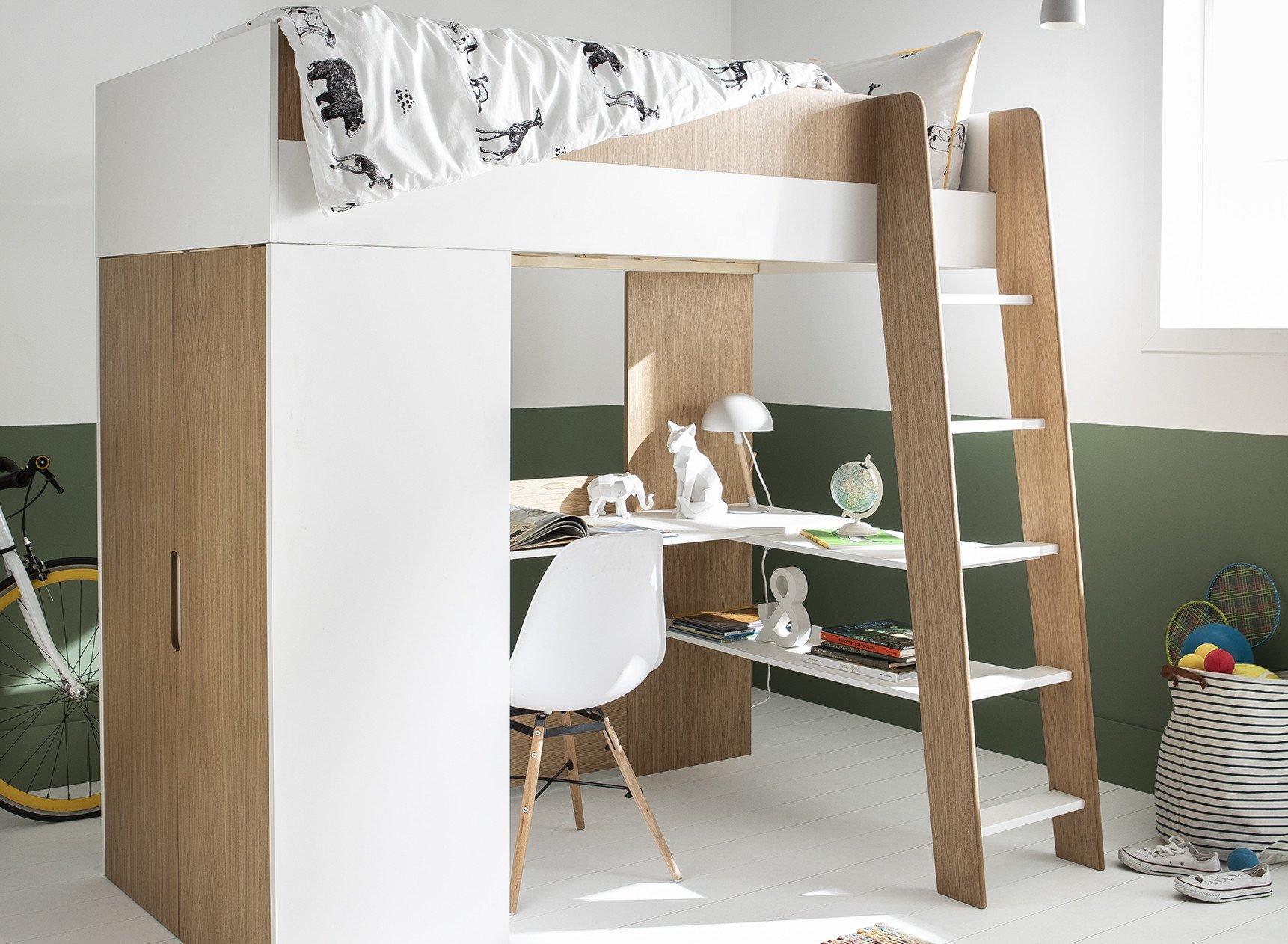 Lit mezzanine avec bureau et armoire MANLY Nateo Concept - 6