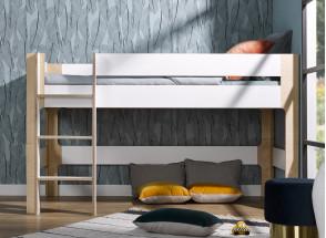 Lit mi-hauteur 90x190 SYMI – Blanc/Bouleau Nateo Concept - 2