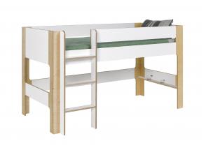 Lit mi-hauteur 90x190 SYMI – Blanc/Bouleau Nateo Concept - 5